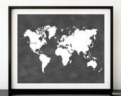 Grey printable world map, distressed vintage texture map print, black and white map, black white print, grey wall art, dorm decor - map018 B