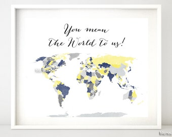 Printable World Map With Countries Us States Canadian Australian States Shades Of Yellow