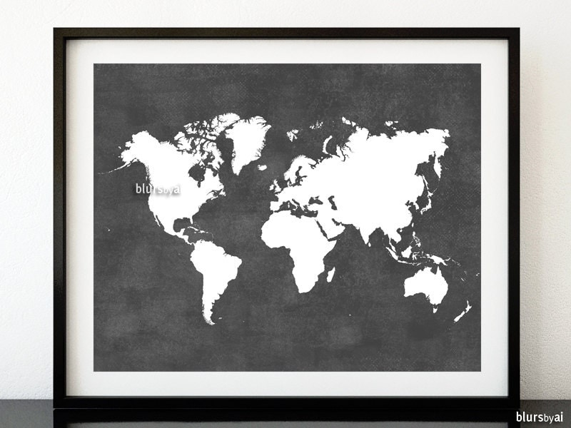 Grey Printable World Map Distressed Vintage Texture Map
