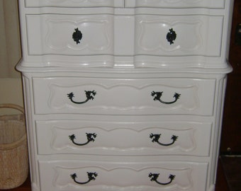 Example of Finished Work White French Provincial Dresser Shabby Chic French Simply Elegant Tallboy