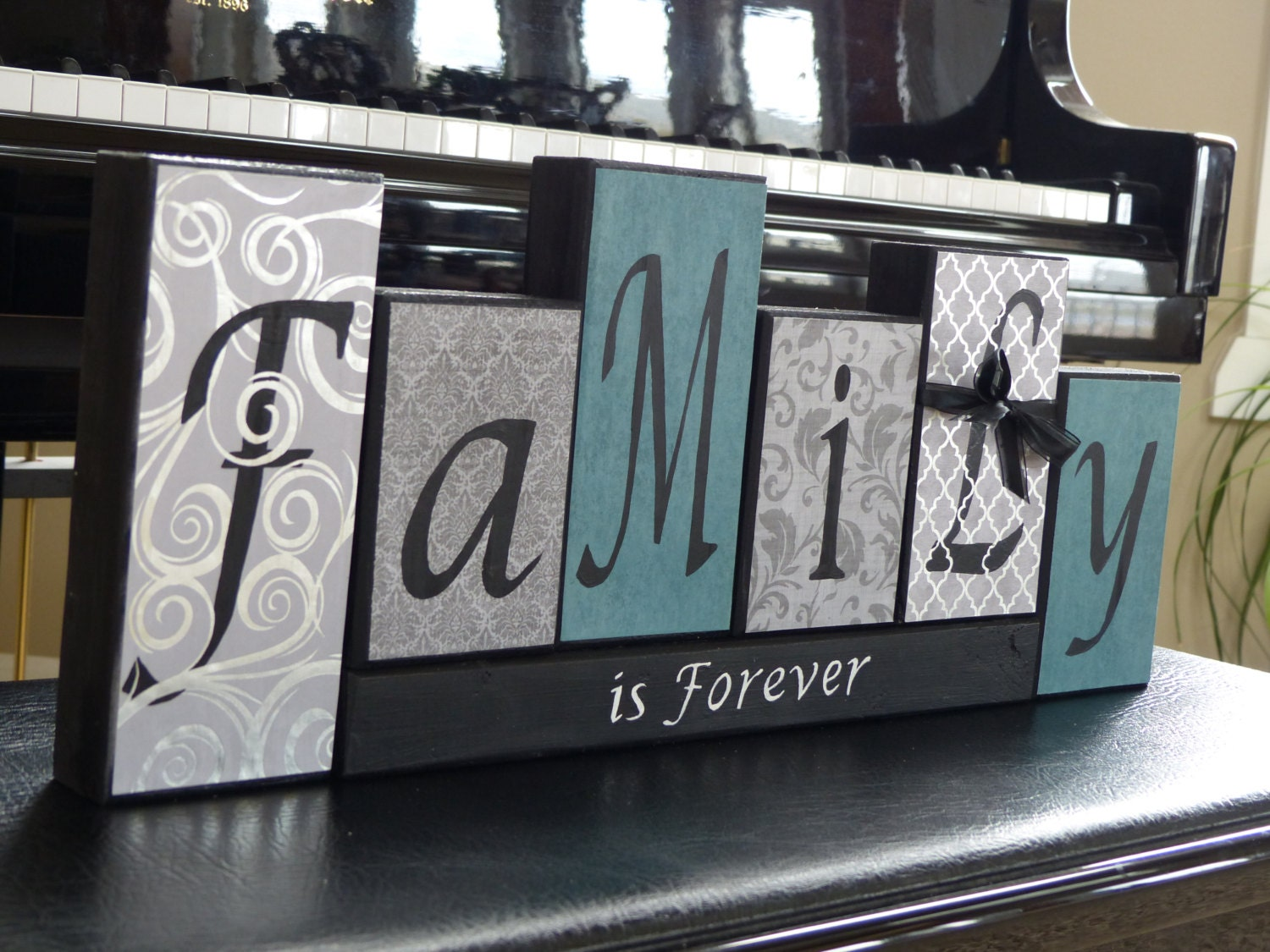 Family sign living room decor name block family sign for Home decor names