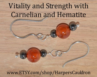 Carnelian and Hematite Earrings, on Sterling Silver headpin and Stainless Steel (hand-made) Fishhook Earwires