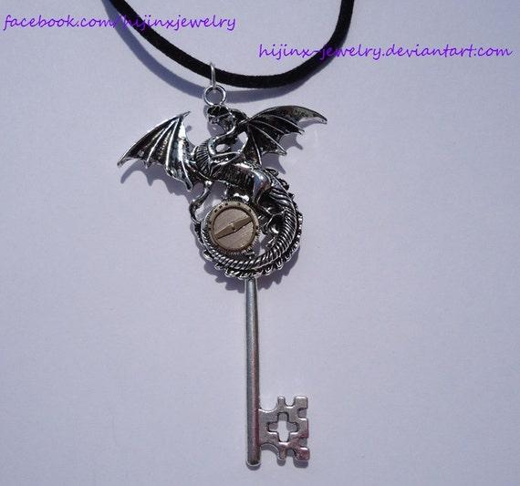 Items similar to Steampunk Dragon Fantasy Key, Keyblade ...
