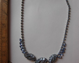 Incredible 1960s Blue Rhinestone Necklace