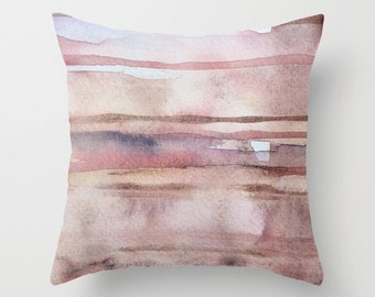 Throw pillow cover with fine art print Decoative pillow, cushion cover, accent pillow Blush Pink Caramel Beige Eath tones.