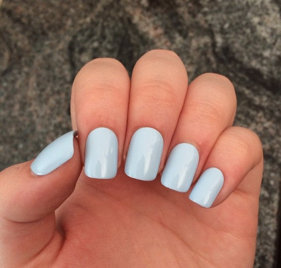 Items similar to Blue nails, baby blue press on nails, set ...
