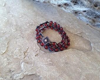 Beaded Carnelian Leather Bracelet