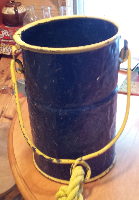 Items similar to antique vintage metal well bucket on etsy for Old metal buckets