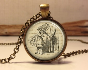 ALICE IN WONDERLAND  Jewelry. Alice Necklace .Alice in wonderland art pendant jewelry(Alice #4)