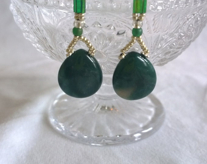 Green Agate earrings, Miyuki earrings, handmade earrings, beaded earrings