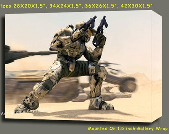 """Halo 2 Xbox Giclee Art W Gallery Wrap Ready To Hang Size 28X20X1.5"""" & Larger"""