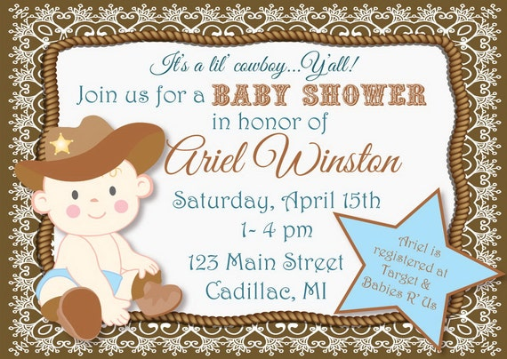 lil 39 cowboy baby shower invitation diy personalized party printable