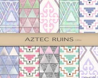 "Aztec Glitter Tribal Digital Paper Pink Mint Green Pastel Pyramid Invitation Arts Craft Supply Printing Design Blog ""Aztec Ruins"""