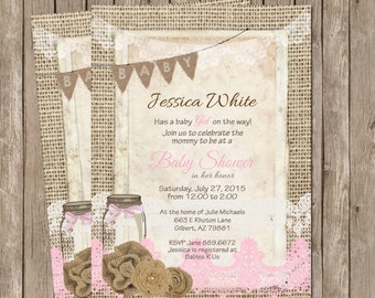 Rustic, Mason Jar,  Burlap and Lace Girl Baby Shower Invitation, Invite, Shabby, Printable, Customize, 5x7