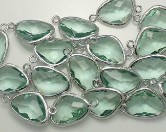 Ernite Nugget glass charm Crystal Nugget silver plated brass framed for pendant earrings necklace Bracelets /Annielov FG-07-EN-SV