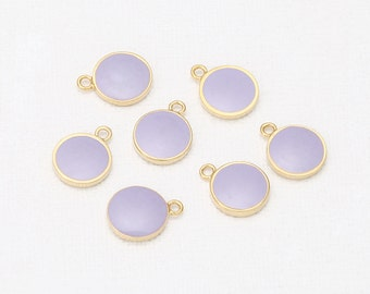 8mm Round Lavender Epoxy Pendant Polished Gold-Plated - 2Pieces [P0342-PGLV]