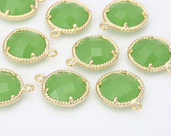 Apple Green Glass Round Pendant Polished Gold -Plated - 2 Pieces [G0038-PGAG]