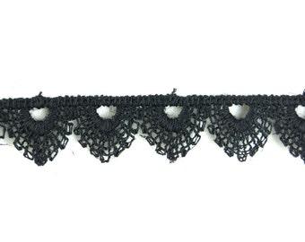 24yds Vintage Scalloped Black Guipure Lace Trim