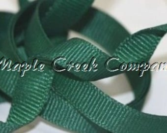 "5 yards Hunter Green Grosgrain Ribbon, 4 Widths Available: 1 1/2"", 7/8"", 5/8"", 3/8"""