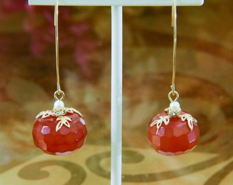 Faceted Carnelian Designer Dangles