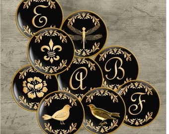 Initials-Black and Gold - One Inch Round Digital Collage Sheet for Pendants, Magnets, Bottle Caps, Paper Crafts
