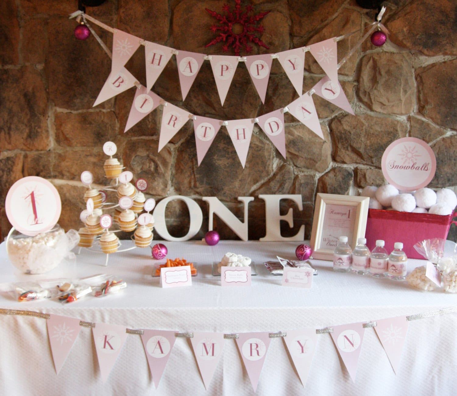 Winter ONEderland Birthday Party Theme Baby By