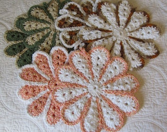 Crochet Pot Holder,Crochet Hot Pad,Cotton,Double Thickness,Set of 2,Flower Hot Pads,Flower Pot Holders,Kitchen,Retro Kitchen,Flower,Gifts