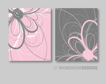 Pink and Gray Floral Flower Duo. - Home. Decor. Nursery. Bedroom. Bed. Bath. Girl - You Pick the Size (NS-427)