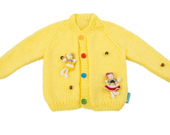 Happy playground hand made unique baby girl yellow cardigan in size 80; 9-12 months old