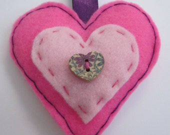 Bright Mid Pink Heart Felted Key Ring