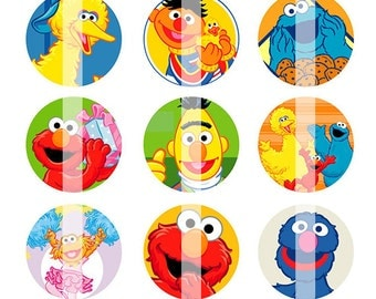 INSTANT DOWNLOAD - Sesame Street inspired 4x6 One Inch Digital Bottle Cap Images