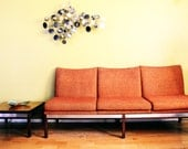 Mid Century Modern Orange Sofa Loveseat Settee End Table Modular Seating - 20cModern