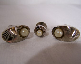 Silver Cuff Links and Tie Tac Set Formal Wear Accessories