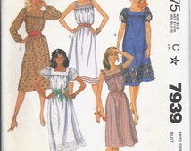 Vintage McCall's Pullover Dress Pattern 7939 Size 12 – Sundress, gathered sleeves, 1982