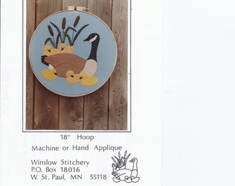 Canadian Goose and Goslings Applique Pattern - vintage