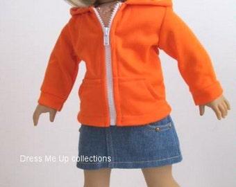 Doll Clothe Orange Hoodie+ Denim Skirt 4 American Girl Dolls 213