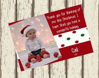 Christmas Thank you Cards - Digital - print your own - personalized with photo