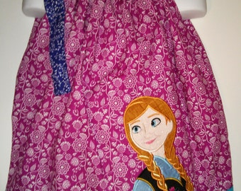 Princess Anna Frozen Boutique Birthday Party Pillowcase Summer Dress Girl Outfit! Sizes  2 ,3, 4, 5, 6, 7, 8