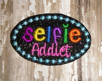 Set of 4 Selfie Addict Glitter Feltie Felt Embellishment Bow! Felties Applique Self Planner Clip Cellphone Cell Phone Picture Pic Birthday