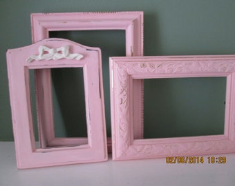 Three Pretty in Pink shabby picture frames