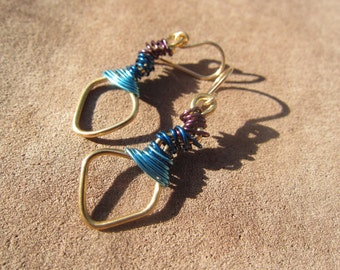 Shaped Brass and Purple & Blues Wrapped Earrings