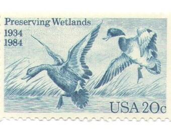 10 Unused 1984 Preserving the Wetlands - Vintage Postage Stamps Number 2092