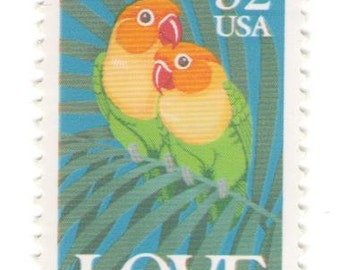 10 Unused 1991 Fischer's Lovebirds - Vintage Postage Stamps Number 2537