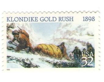 10 Unused 1998 - Klondike Gold Rush - Postage Stamps Number 3235