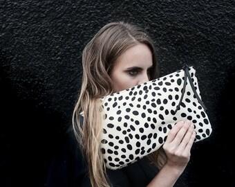 Cheetah Print Hair on Hide Clutch | Cowhide  Bag | Purse | Wallet | Pouch | Animal Print | Black and White