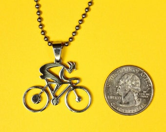 Bicycle Pendant, Stainless Steel, Shiny Polished Finish Charm -  Handmade rubber cord  and Stainless Steel chain necklace included