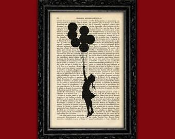Banksy Flying Girl with Balloons Art Print Banksy Street Art Stencils Book Art Poster Dorm Room Print Wall Decor Poster Dictionary (Nº13)
