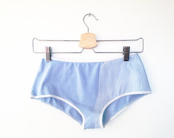 Womens Underwear, Screen Printed, Organic Cotton Panties, White Stripes, Sky Blue, Vintage Style, For Her