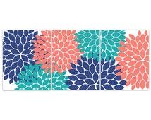 Home Decor Wall Art, Coral and Navy Flower Burst Art, Bathroom Wall Decor, Coral Teal Bedroom Decor, Nursery Wall Art - HOME83