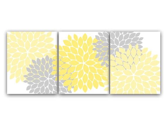 D coration murale art fleur jaune et gris clat art for Decoration murale jaune